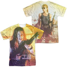 Terminator Ii Sarah Connor Sub (Front Back Print) Short Sleeve Adult Poly Crew T-Shirt