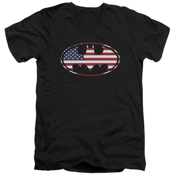 BATMAN AMERICAN FLAG OVAL - S/S ADULT V-NECK - BLACK T-Shirt