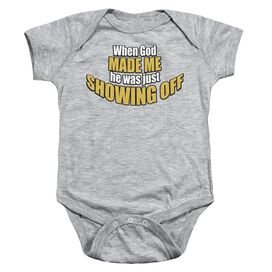Showing Off Infant Snapsuit Athletic Heather Lg