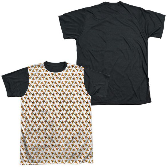 UNCLE GRANDPA PIZZAS-S/S ADULT WHITE FRONT BLACK BACK T-Shirt