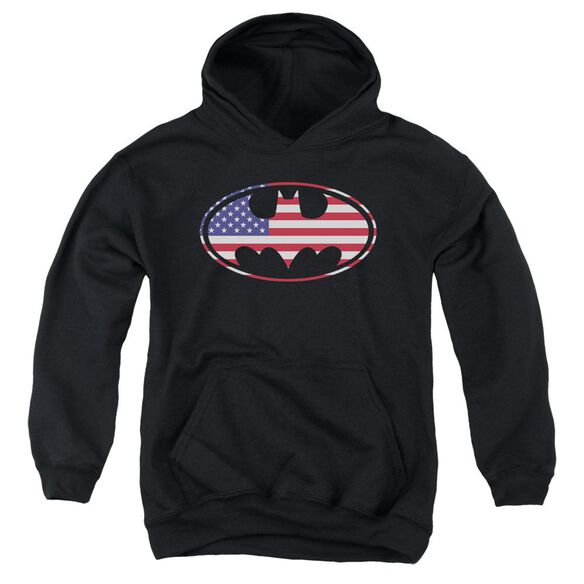 Batman American Flag Oval Youth Pull Over Hoodie