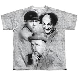 Three Stooges Signature Short Sleeve Youth Poly Crew T-Shirt