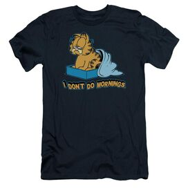 GARFIELD I DONT DO MORNINGS - S/S ADULT 30/1 - NAVY T-Shirt