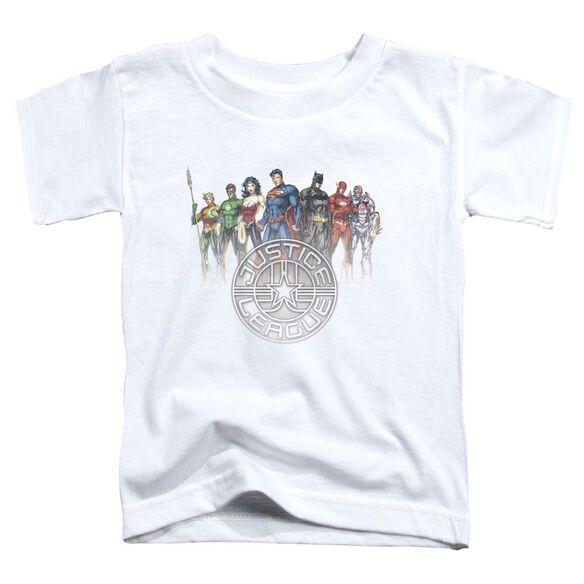 Jla Circle Crest Short Sleeve Toddler Tee White Sm T-Shirt