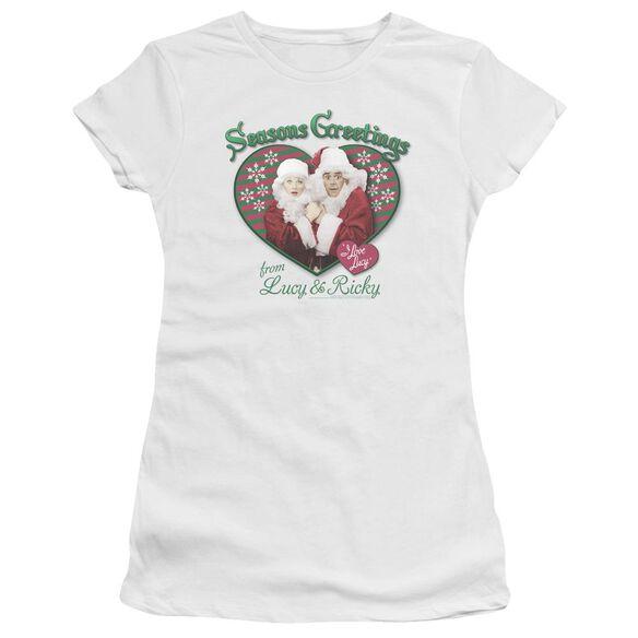 I Love Lucy Seasons Greetings Premium Bella Junior Sheer Jersey