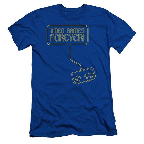 Video Games Forever Short Sleeve Adult Royal T-Shirt