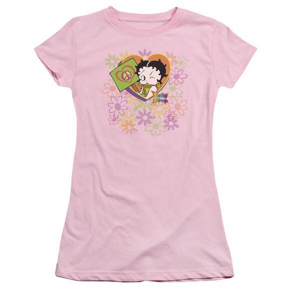 Betty Boop Peace Love And Boop Short Sleeve Junior Sheer T-Shirt