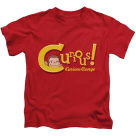 Curious George Curious Short Sleeve Juvenile Red Red T-Shirt