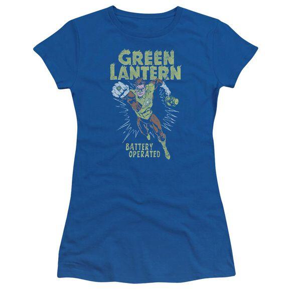 Green Lantern Fully Charged Short Sleeve Junior Sheer Royal T-Shirt