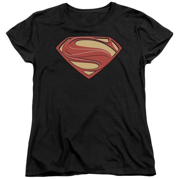 Man Of Steel New Solid Shield Short Sleeve Women's Tee T-Shirt