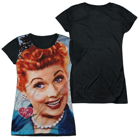 I Love Lucy Smile Short Sleeve Junior Poly Black Back T-Shirt
