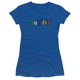 Rubik's Cube Smudge Logo Short Sleeve Junior Sheer Royal T-Shirt