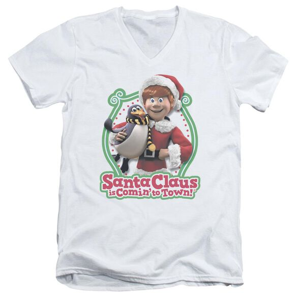 Santa Claus Is Comin To Town Penguin Short Sleeve Adult V Neck T-Shirt