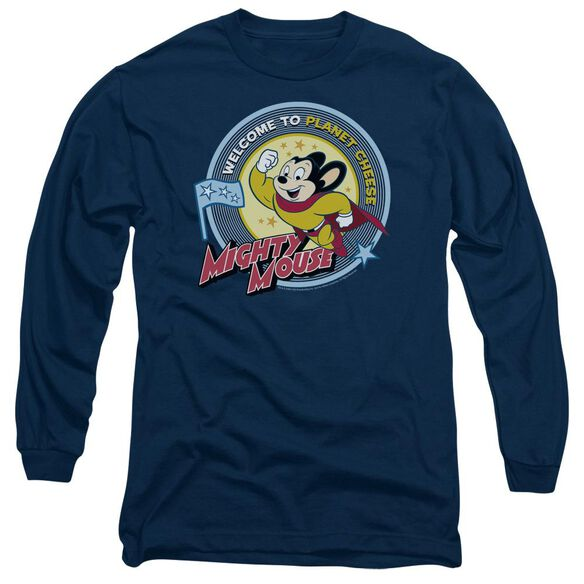 Mighty Mouse Planet Cheese Long Sleeve Adult T-Shirt