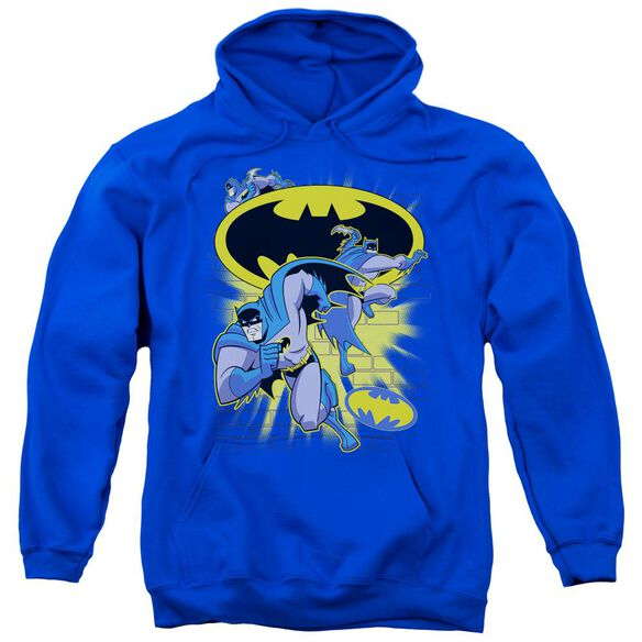 Batman Bb Action Collage Adult Pull Over Hoodie Royal