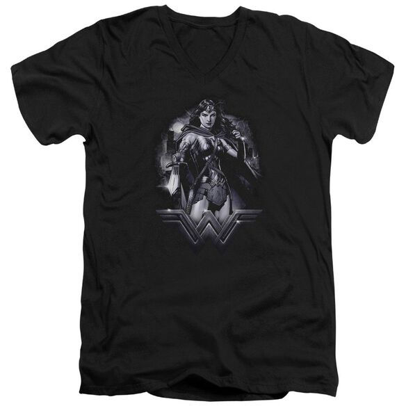 Batman Vs Superman Rainy Night Short Sleeve Adult V Neck T-Shirt