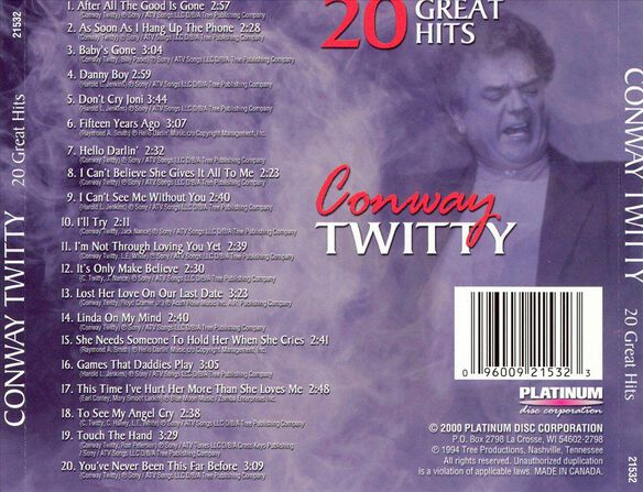 Conway Twitty 20 Songs