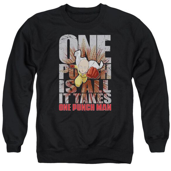One Punch Man One Punch Is All It Takes Adult Crewneck Sweatshirt