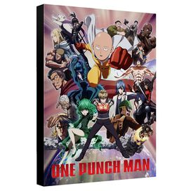 One Punch Man One Punch Man Cast Canvas Wall Art With Back Board