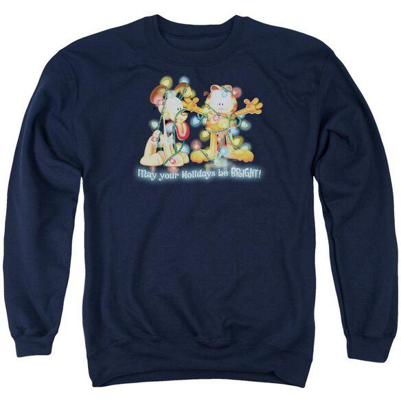 Garfield Bright Holidays - Adult Crewneck Sweatshirt - Navy