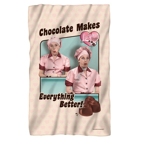 I Love Lucy Friends And Chocolate Fleece Blanket