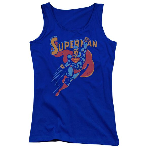 Superman Life Like Action Juniors Tank Top Royal