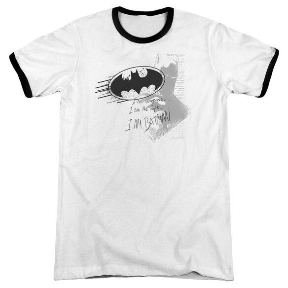 Batman I Am Vengeance Adult Ringer White Black