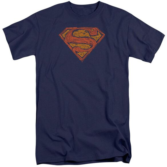 Superman Messy S Short Sleeve Adult Tall T-Shirt
