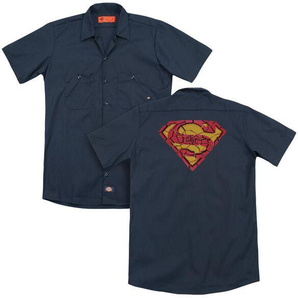 Superman Shattered Shield (Back Print) Adult Work Shirt