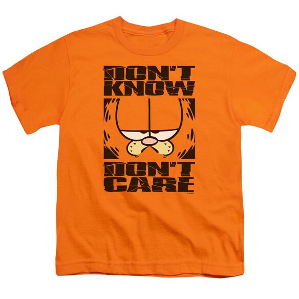 Garfield Don't Know Don't Care Short Sleeve Youth T-Shirt