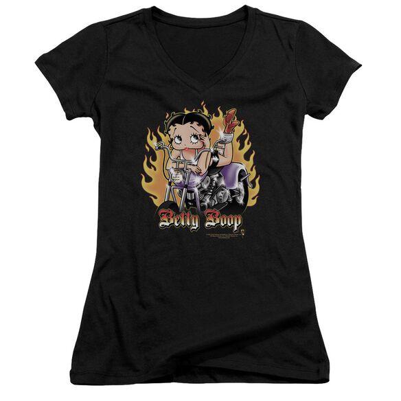 Betty Boop Biker Flames Boop Junior V Neck T-Shirt
