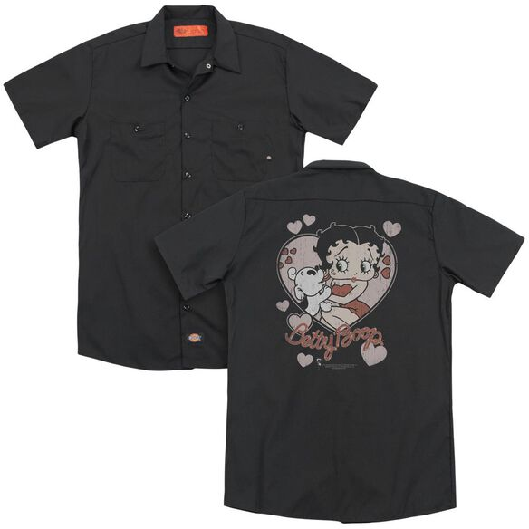 Betty Boop Classic Kiss (Back Print) Adult Work Shirt