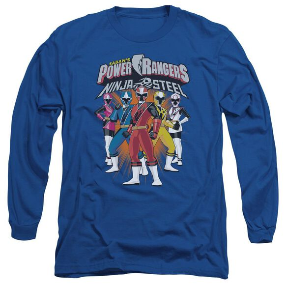 Power Rangers Team Lineup Long Sleeve Adult Royal T-Shirt
