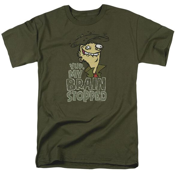 Ed Edd N Eddy Brain Dead Ed Short Sleeve Adult Military Green T-Shirt