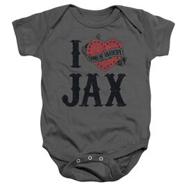 Sons Of Anarchy I Heart Jax Infant Snapsuit Charcoal