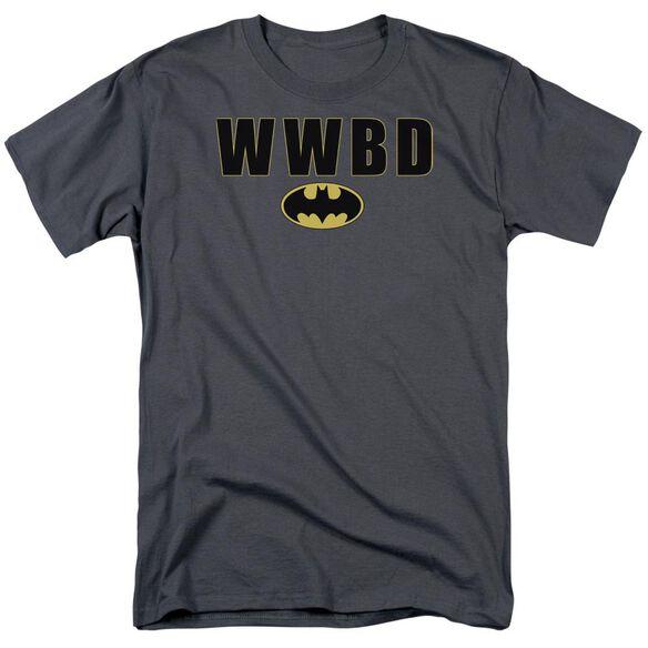 Batman Wwbd Logo Short Sleeve Adult Charcoal T-Shirt
