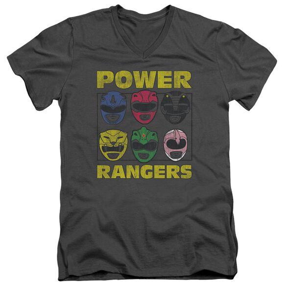 Power Rangers Ranger Heads Short Sleeve Adult V Neck T-Shirt