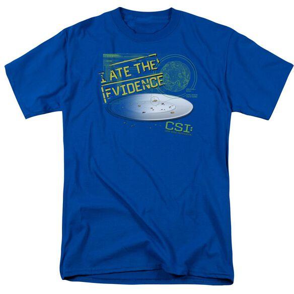 Csi I Ate The Evidence Short Sleeve Adult Royal Blue T-Shirt