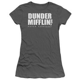 The Office Dunder Mifflin Logo Short Sleeve Junior Sheer T-Shirt