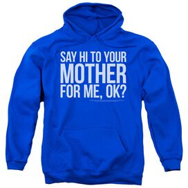 Snl Hi Mother Adult Pull Over Hoodie Royal