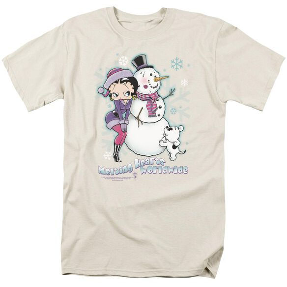 Betty Boop Melting Hearts Short Sleeve Adult Cream T-Shirt