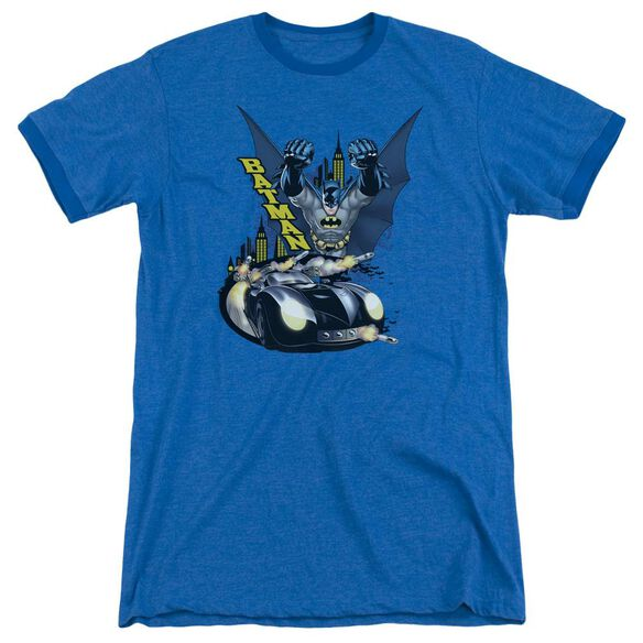 Batman By Air & By Land Adult Heather Ringer Royal Blue