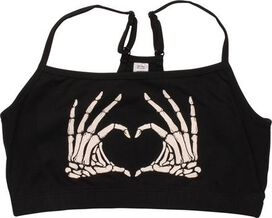 Skeleton Hands Heart Plus Size Sports Bra Top