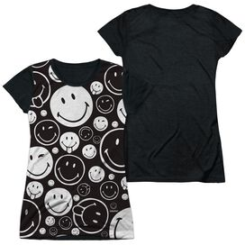 Smiley World Smiles All Around Short Sleeve Junior Poly Black Back T-Shirt