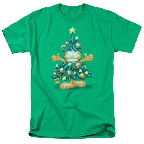 Garfield Tree Short Sleeve Adult Kelly Green T-Shirt