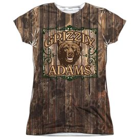 Grizzly Adams Paw Prints Short Sleeve Junior Poly Crew T-Shirt