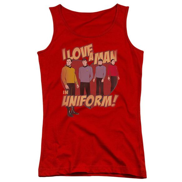 Star Trek Man In Uniform - Juniors Tank Top - Red