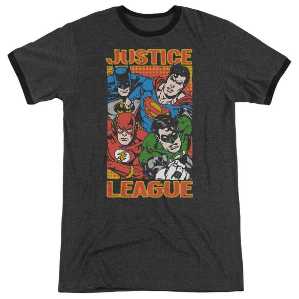 Jla Hero Mashup Adult Heather Ringer Charcoal