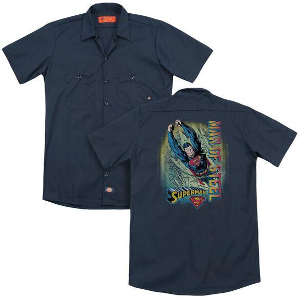 Superman Breakthrough (Back Print) Adult Work Shirt