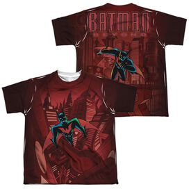 Batman Beyond Red Gotham (Front Back Print) Short Sleeve Youth Poly Crew T-Shirt